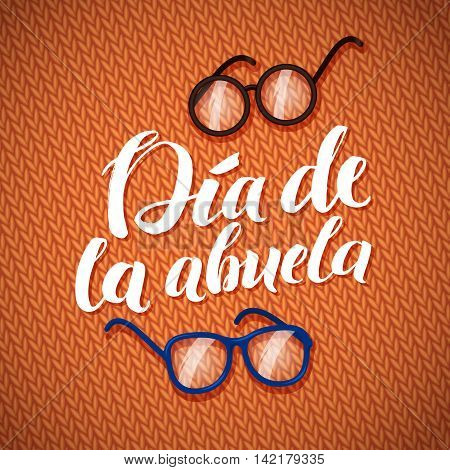 Happy Grandparents Day Calligraphy Greeting Card on Orange Knitted Background with Glasses.