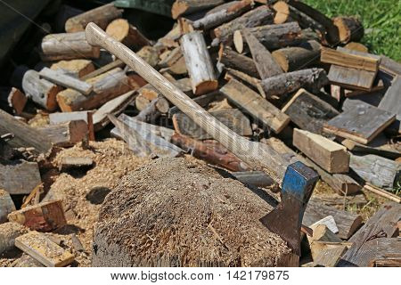 Big Ax Of A Woodcutter In The Woodshed