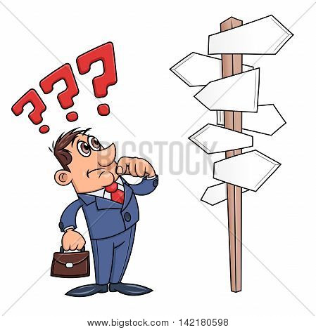 Illustration of the businessman looking at road sign with many direction options