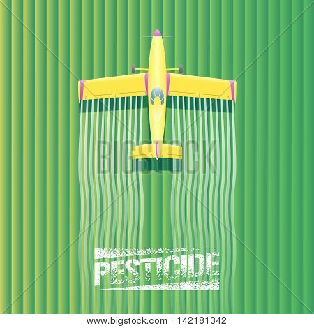 Crop duster plane vector illustration. Aerial view of flying airplane spraying green farming field. Design concept element with pesticide sign crop duster landscape for poster