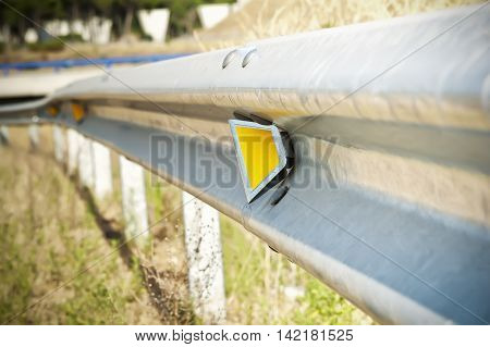 Reflector of a guardrail on the highway