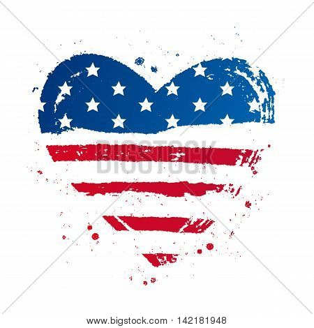 American flag in the shape of a large heart. USA. Vector illustration on white background. Excellent print on a T-shirt.