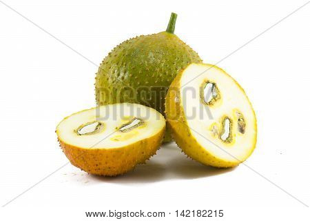 Green baby Jackfruit and ripe baby jackfruit slice isolated on white background.fruit for health