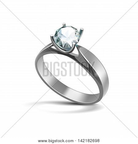 Vector Silver Engagement Ring with White Shiny Clear Diamond Close up Isolated on White Background