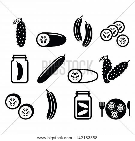 Cucumber, pickled, cucumber slices - food vector icons set