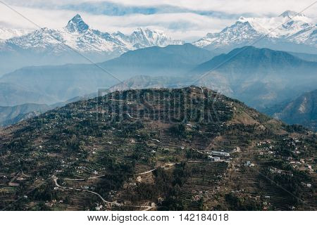 Sarangkot hill and the Machapuchare, aerial view, Nepal