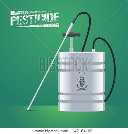 Pest insects control sprinkling equipment vector illustration for farming gardening agriculture. Design element of pesticide sign as stamp. Logo with insect on the sprinkler can