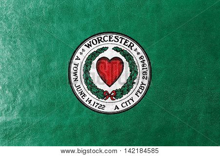 Flag Of Worcester, Massachusetts, Usa, Painted On Leather Texture