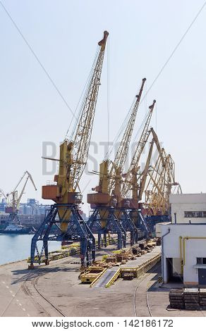 Several different harbor cranes on the quay of a sea cargo port poster