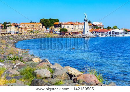 Old town panorama, sea, houses in Nessebar or Nesebar in Bulgaria, Black sea