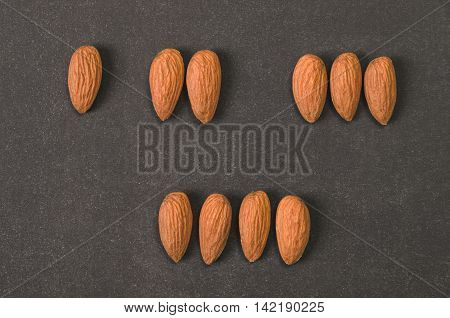 Ten Almonds on Blackboard to Use for Counting