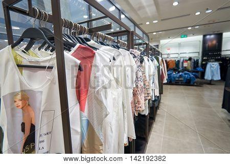 HONG KONG - CIRCA JANUARY, 2016: inside of Zara store at shopping center in Hong Kong. Zara is a Spanish clothing and accessories retailer based in Arteixo, Galicia.