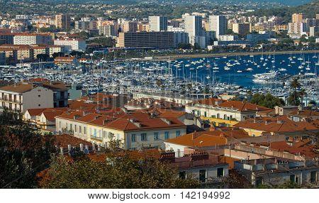 Ajaccio city Corsica island France-August 10 2016: The houses of Ajaccio city the capital of South Corsica and its marina port.