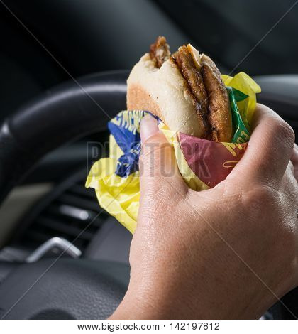 Breakfast in America while driving fast food