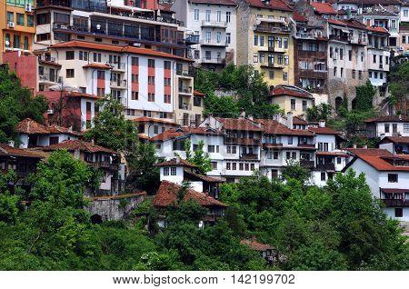 VELIKO TARNOVO BULGARIA - MAY 07 2016: Residential houses on the hill