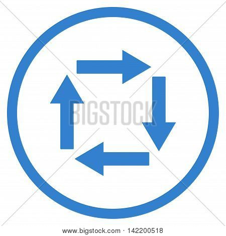 Circulation Arrows vector icon. Style is flat rounded iconic symbol, circulation arrows icon is drawn with cobalt color on a white background.