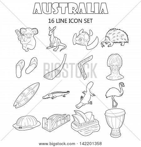 Outline Australia icons set. Universal Australia icons to use for web and mobile UI, set of basic Australia elements isolated vector illustration