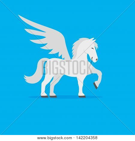 Cute white pegasus on a blue background.