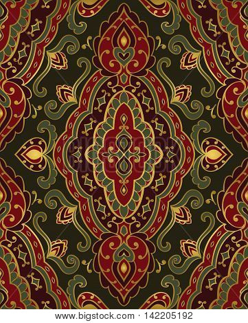 Red and green ornament. Template for oriental carpet textile shawl cover and any surface. Seamless vector pattern of gold contours on a dark background.