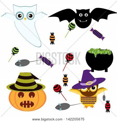 Vector illustration of collection of halloween icon set. Halloween set horror ghost pumpkin drawing symbols pumpkin broom bat spider webs. Halloween icons sweet candy holiday october vector set.