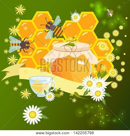 Background design with honey and bee objects. Honey bee card vector background design honeycomb cute insect. Summer animal art graphic symbol honey bee card sweet nature yellow food.
