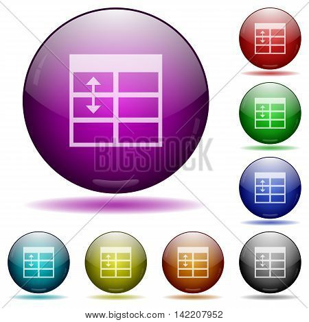 Set of color Spreadsheet adjust table row height glass sphere buttons with shadows.