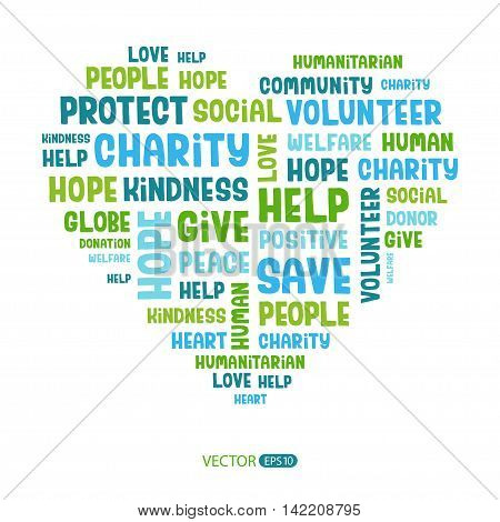 Concept word cloud containing words related to charity, love, health care, kindness, human features, positivity, volunteering, donations, help in the shape of the heart. Handwritten vector font.