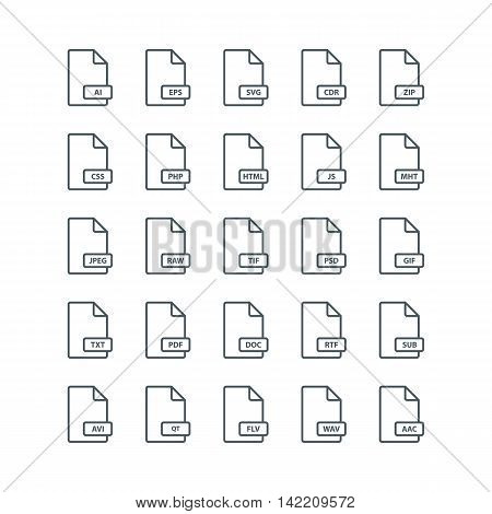 Set of file format line icons. Vector illustration.