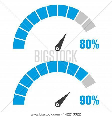 Set of speedometer or rating meter signs infographic gauge element with percent 80 90