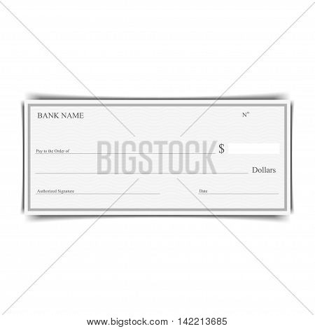 Blank of bank chek on a white background