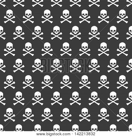 Seamless pattern. Skull and crossbones texture. Vector illustration