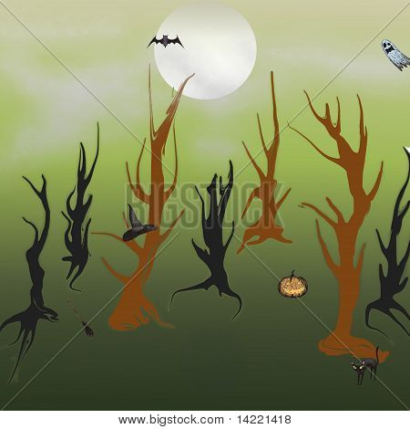 Scary holloween forest