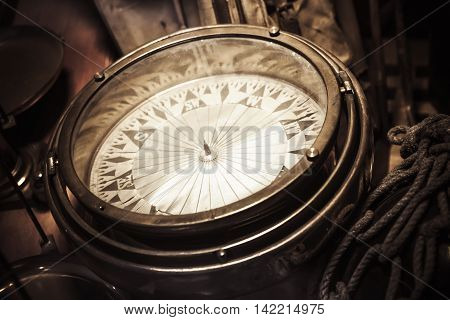 Vintage Nautical Compass, Closeup Photo