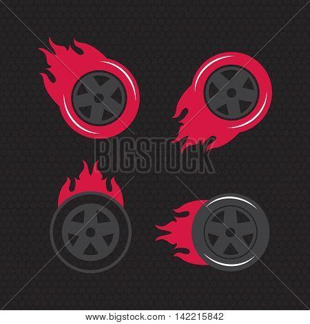 Hot wheel Racing flat labels set. Blaze and flash logo eps10