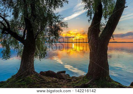 Sunrise on Lake Seliger, Tver region, Russia.