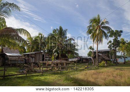 Chea Village, Solomon Islands - June 15, 2015: Local village on the Solomon Islands.