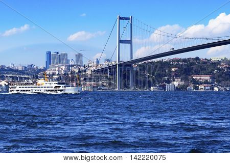 Istanbul Turkey - View of the European side of Istanbul from the Bosphorus. The Bosphorus Bridge (Turkish: Bogazici Koprusu) also called the First Bosphorus Bridge is one of two suspension bridges spanning the Bosphorus strait (Turkish: Bogazici) in Istan