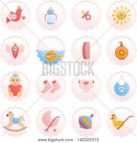 Newborn icon set. Design elements isolated on white background.