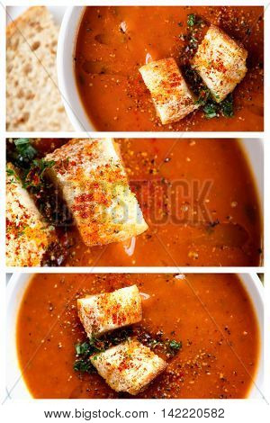 A collage of a bowl of fresh tomato soup in white ceramic bowl, garnished with herbs, croutons, seasoning and a drizzle of olive oil, and served with crusty wholemeal bread.
