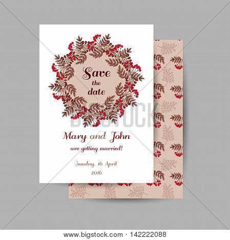 Wedding invitation with hand drawn red berries on brown background. Vector illustration.