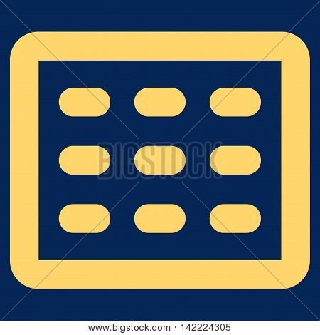 Table Grid vector icon. Style is contour flat icon symbol, yellow color, blue background.