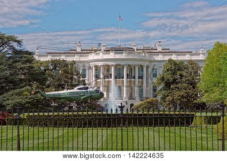 Helicopter In Front Of White House