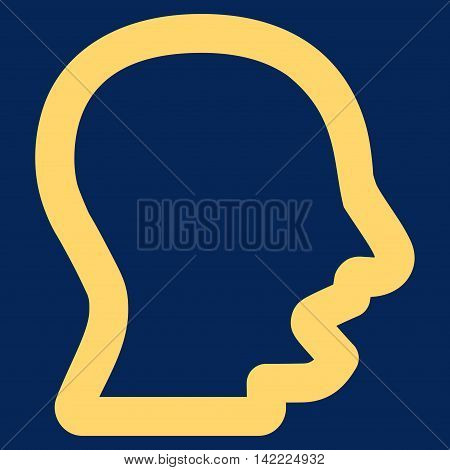 Yawning Head vector icon. Style is contour flat icon symbol, yellow color, blue background.