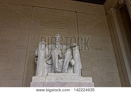 Monument Of Abraham Lincoln In Washington Dc Us