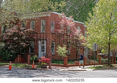 Red Brick House On One Of The Streets