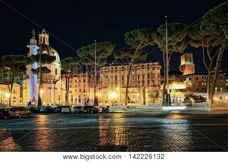 Church Of Trajan Forum In Rome In Italy At Night