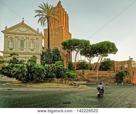 Ruins Of Trajan Forum In The Old City Rome Italy