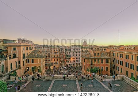 Tourists And Spanish Steps Of Square Of Spain In Rome