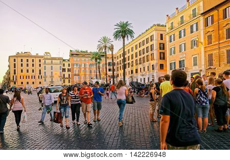 Tourists And Square Of Spain In Rome In Italy