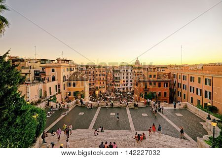 Tourists At Spanish Steps At Square Of Spain In Rome